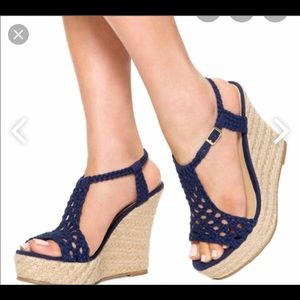 Just fabulous blue crotchet wedge sandal